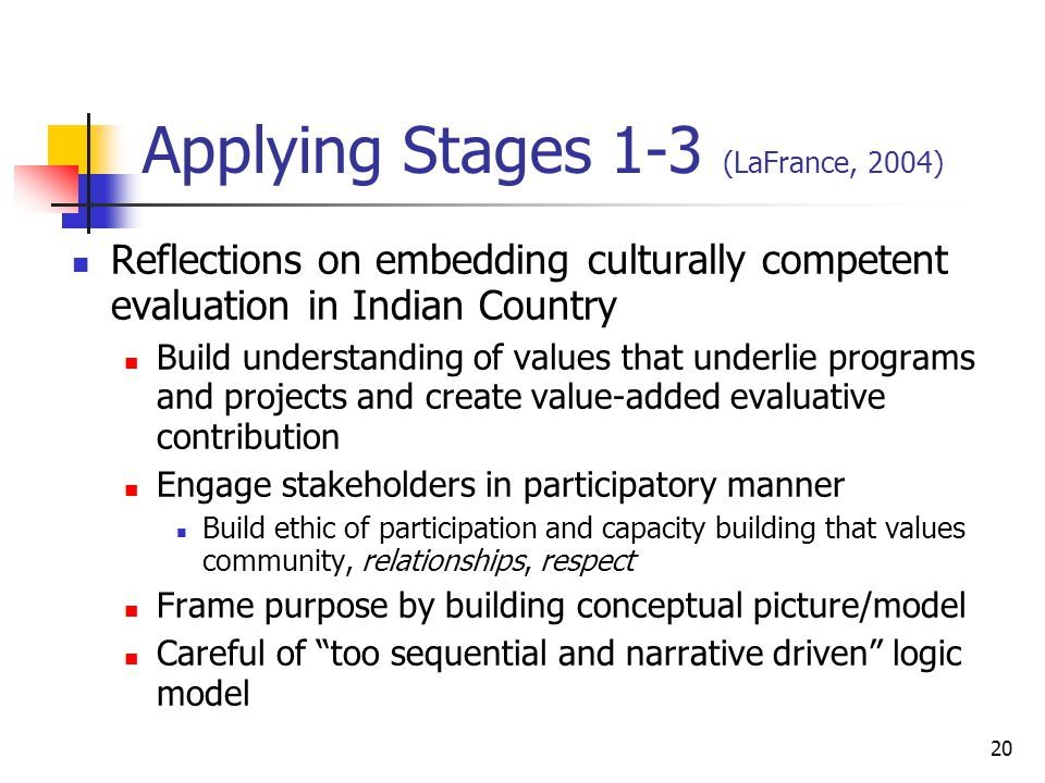 Applying Stages 1-3 (LaFrance, 2004) Reflections on embedding culturally competent evaluation in Indian Country Build understanding of values that underlie programs and projects and create value-added evaluative contribution Engage stakeholders in participatory manner Build ethic of participation and capacity building that values community, relationships, respect Frame purpose by building conceptual picture/model Careful of too sequential and narrative driven logic model 20