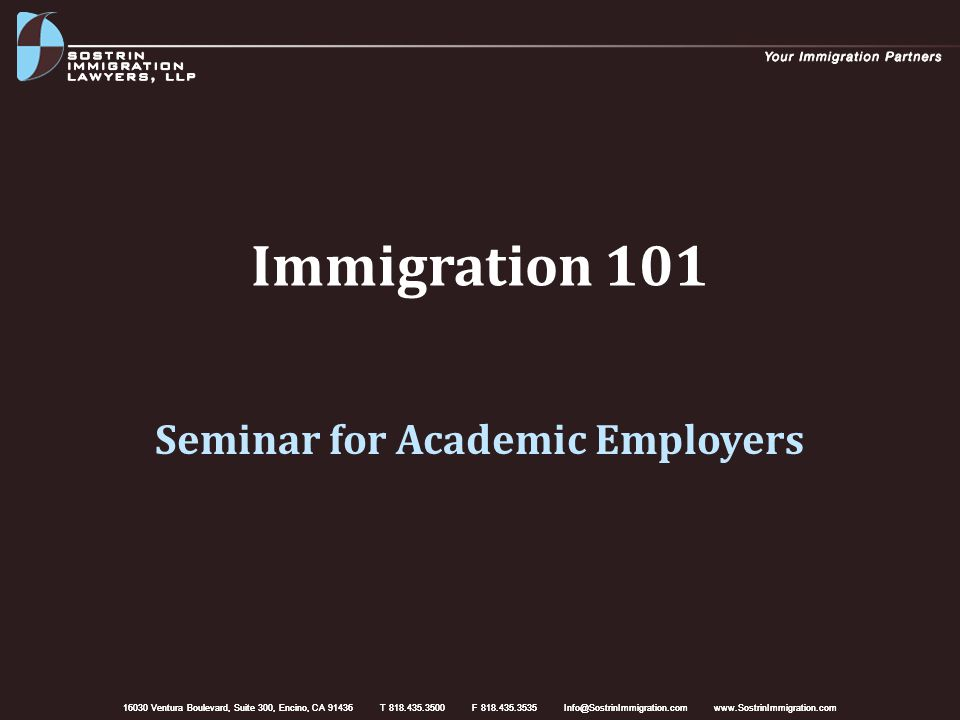 Overview Nonimmigrant work visas J-1 waivers Permanent residence options Hiring strategies Immigration planning strategies Q & A