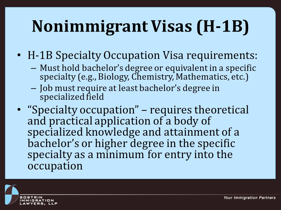 Nonimmigrant Visas (H-1B) H-1Bs for IMG clinicians: – Must have all steps of USMLE (1, 2CK, 2CS & 3) – Must hold licensure in AR Exceptions from USMLE requirement: – U.S.