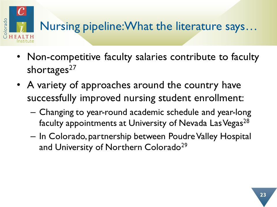 Nursing pipeline: What the literature says… Non-competitive faculty salaries contribute to faculty shortages 27 A variety of approaches around the cou