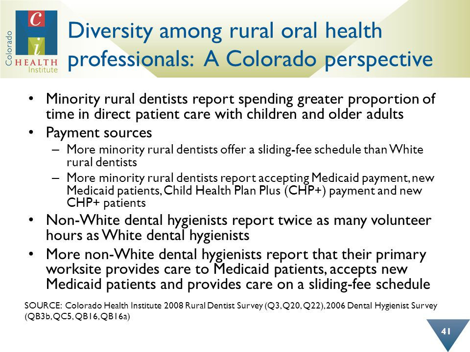 Diversity among rural oral health professionals: A Colorado perspective Minority rural dentists report spending greater proportion of time in direct p