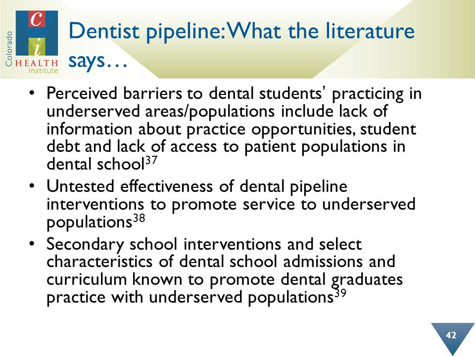 Dentist pipeline: What the literature says… Perceived barriers to dental students' practicing in underserved areas/populations include lack of informa
