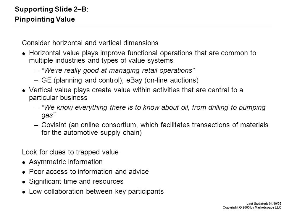 Last Updated: 04/10/03 Copyright  2003 by Marketspace LLC Supporting Slide 2–B: Pinpointing Value Consider horizontal and vertical dimensions Horizontal value plays improve functional operations that are common to multiple industries and types of value systems – We're really good at managing retail operations –GE (planning and control), eBay (on-line auctions) Vertical value plays create value within activities that are central to a particular business – We know everything there is to know about oil, from drilling to pumping gas –Covisint (an online consortium, which facilitates transactions of materials for the automotive supply chain) Look for clues to trapped value Asymmetric information Poor access to information and advice Significant time and resources Low collaboration between key participants