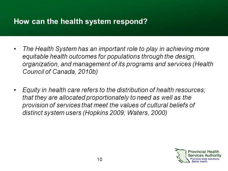 10 How can the health system respond.