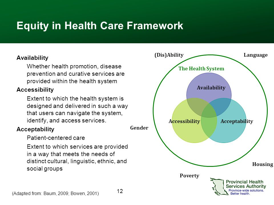 12 Equity in Health Care Framework Availability Whether health promotion, disease prevention and curative services are provided within the health system Accessibility Extent to which the health system is designed and delivered in such a way that users can navigate the system, identify, and access services.
