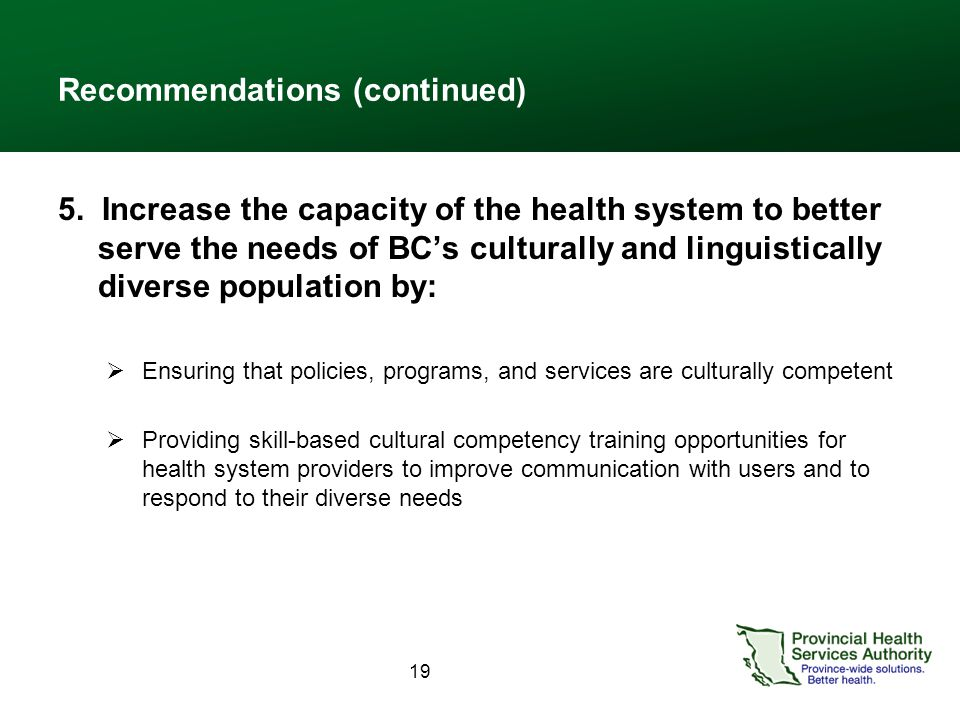 19 Recommendations (continued) 5. Increase the capacity of the health system to better serve the needs of BC's culturally and linguistically diverse p