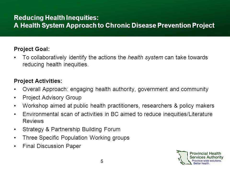 5 Reducing Health Inequities: A Health System Approach to Chronic Disease Prevention Project Project Goal: To collaboratively identify the actions the health system can take towards reducing health inequities.