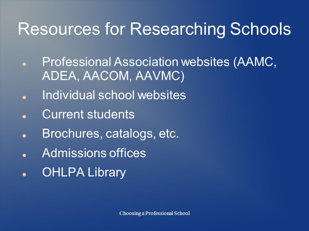 Choosing a Professional School Resources for Researching Schools Professional Association websites (AAMC, ADEA, AACOM, AAVMC) Individual school websites Current students Brochures, catalogs, etc.