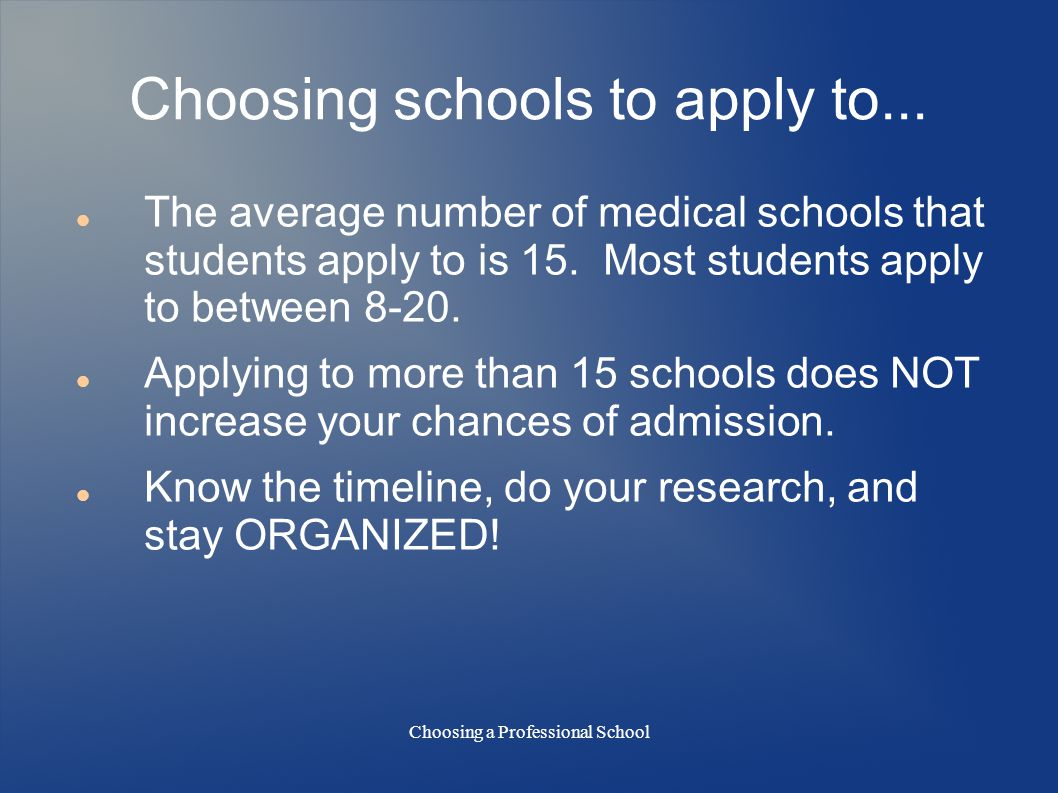 Choosing a Professional School Choosing schools to apply to...