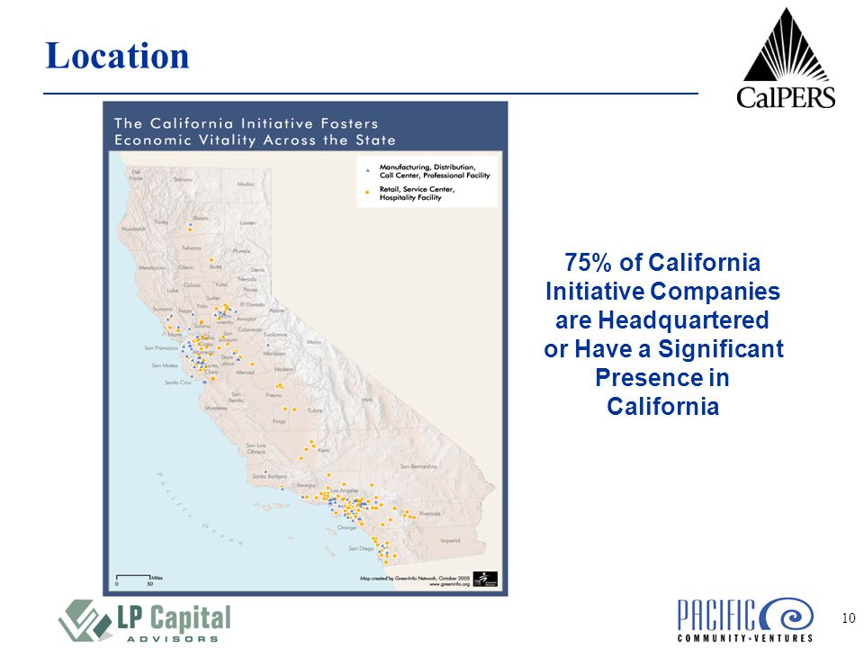 10 Location 75% of California Initiative Companies are Headquartered or Have a Significant Presence in California
