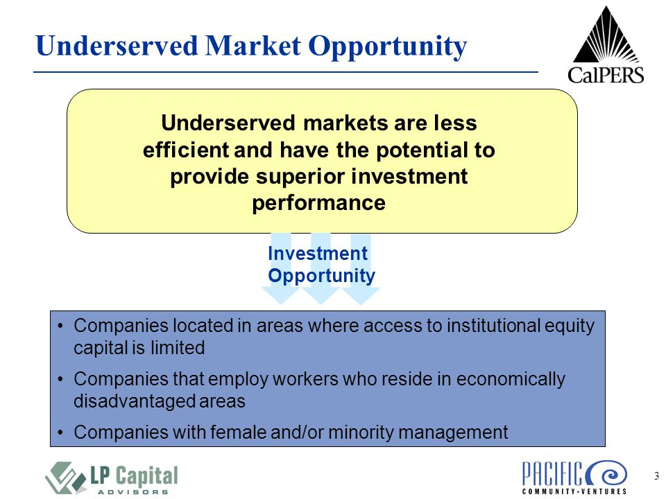 3 Underserved Market Opportunity Companies located in areas where access to institutional equity capital is limited Companies that employ workers who reside in economically disadvantaged areas Companies with female and/or minority management Underserved markets are less efficient and have the potential to provide superior investment performance Investment Opportunity
