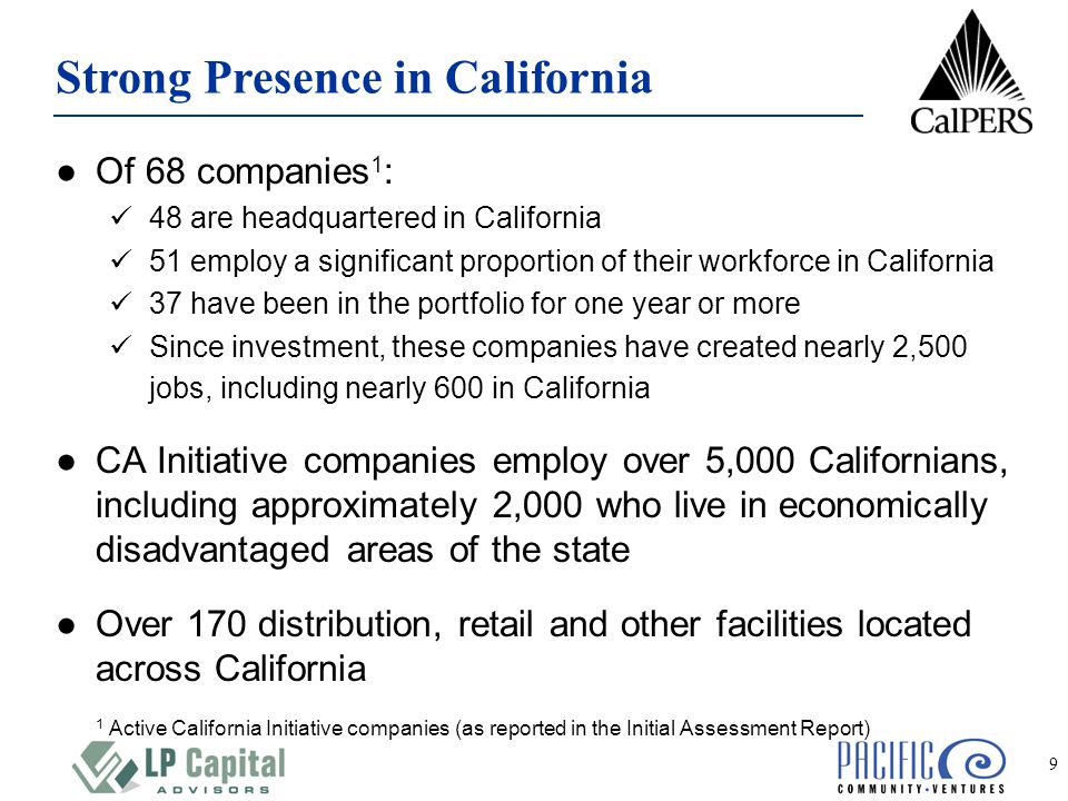 9 ●Of 68 companies 1 : 48 are headquartered in California 51 employ a significant proportion of their workforce in California 37 have been in the portfolio for one year or more Since investment, these companies have created nearly 2,500 jobs, including nearly 600 in California ●CA Initiative companies employ over 5,000 Californians, including approximately 2,000 who live in economically disadvantaged areas of the state ●Over 170 distribution, retail and other facilities located across California 1 Active California Initiative companies (as reported in the Initial Assessment Report) Strong Presence in California