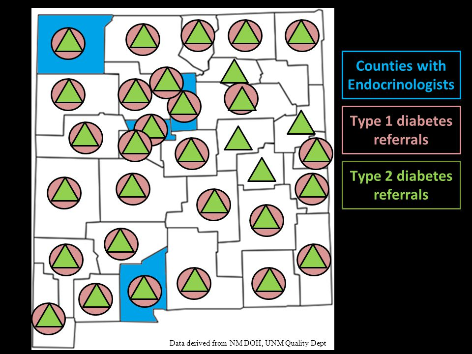 New Mexico Counties with Endocrinologists Type 1 diabetes referrals Type 2 diabetes referrals Data derived from NM DOH, UNM Quality Dept