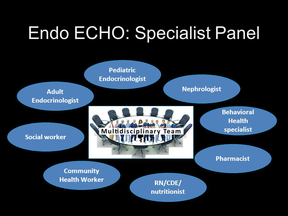 Adult Endocrinologist Pediatric Endocrinologist Nephrologist RN/CDE/ nutritionist RN/CDE/ nutritionist Pharmacist Behavioral Health specialist Community Health Worker Social worker Endo ECHO: Specialist Panel
