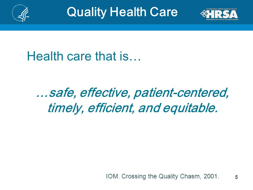 5 Quality Health Care Health care that is… …safe, effective, patient-centered, timely, efficient, and equitable. IOM. Crossing the Quality Chasm, 2001