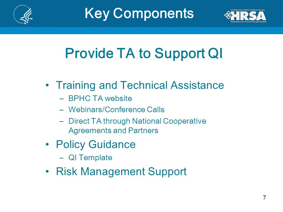 Provide TA to Support QI Training and Technical Assistance –BPHC TA website –Webinars/Conference Calls –Direct TA through National Cooperative Agreements and Partners Policy Guidance –QI Template Risk Management Support 7 Key Components