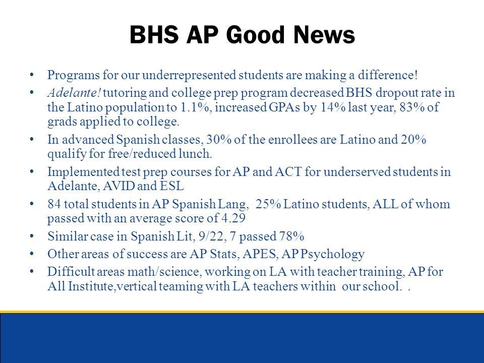 BHS AP Good News Programs for our underrepresented students are making a difference! Adelante! tutoring and college prep program decreased BHS dropout