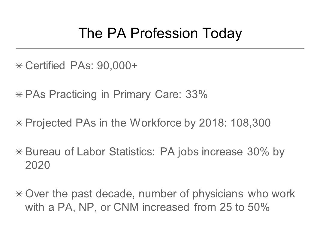 ✴ Certified PAs: 90,000+ ✴ PAs Practicing in Primary Care: 33% ✴ Projected PAs in the Workforce by 2018: 108,300 ✴ Bureau of Labor Statistics: PA jobs increase 30% by 2020 ✴ Over the past decade, number of physicians who work with a PA, NP, or CNM increased from 25 to 50% The PA Profession Today