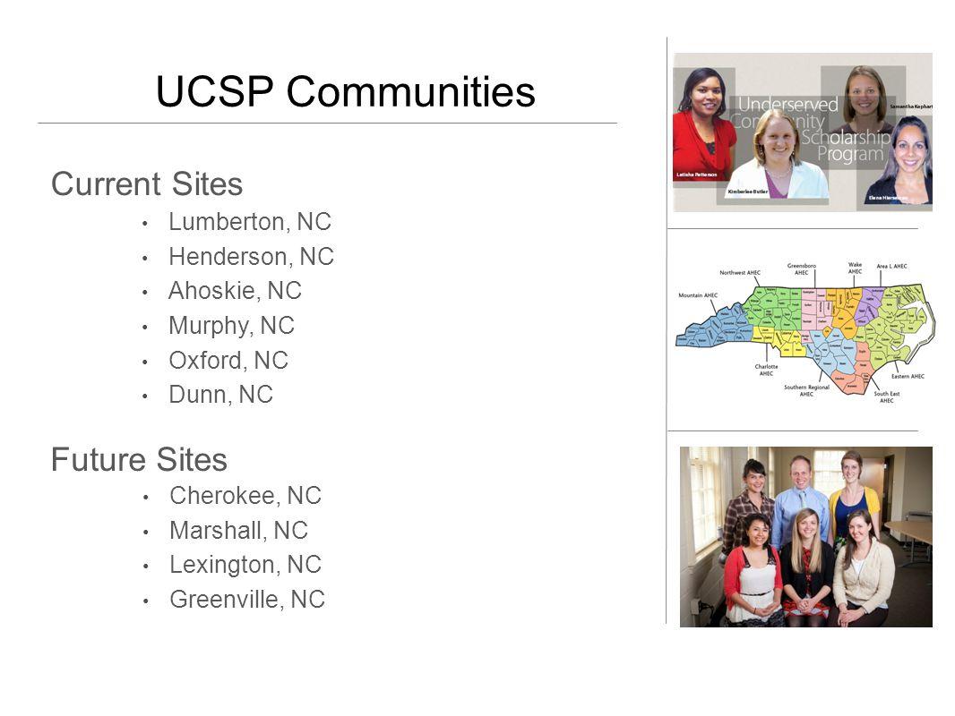 UCSP Communities Current Sites Lumberton, NC Henderson, NC Ahoskie, NC Murphy, NC Oxford, NC Dunn, NC Future Sites Cherokee, NC Marshall, NC Lexington, NC Greenville, NC