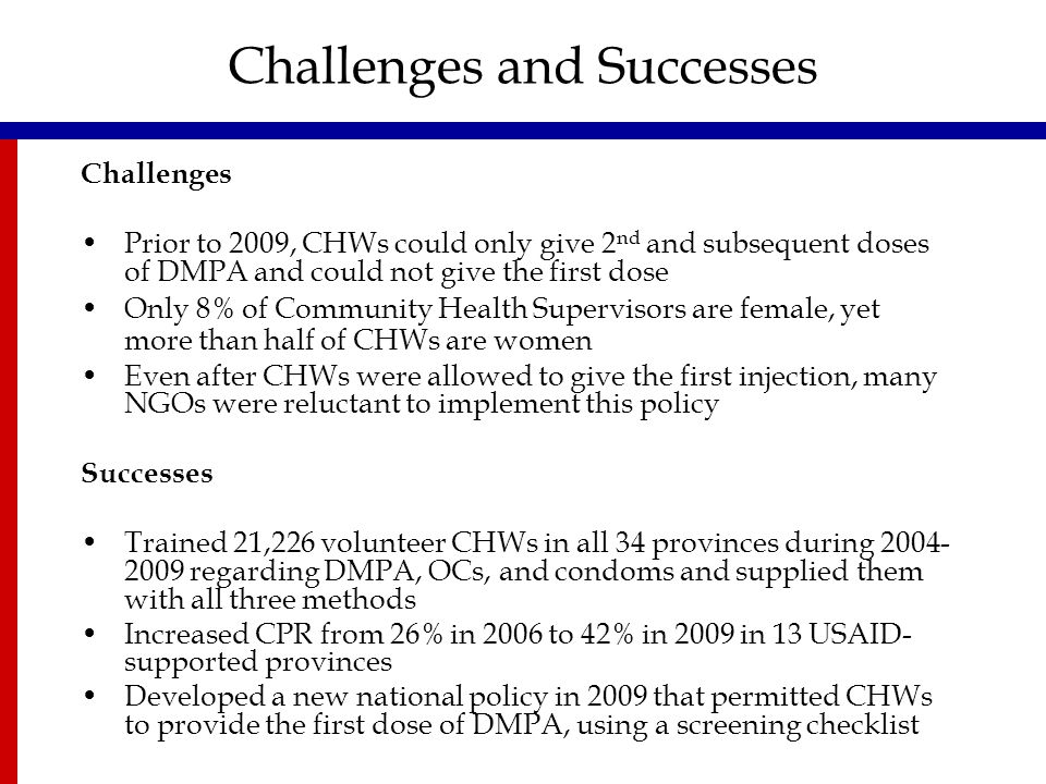 Challenges and Successes Challenges Prior to 2009, CHWs could only give 2 nd and subsequent doses of DMPA and could not give the first dose Only 8% of