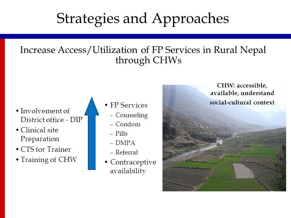 Increase Access/Utilization of FP Services in Rural Nepal through CHWs Strategies and Approaches Involvement of District office - DIP Clinical site Pr