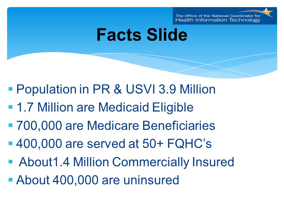  Population in PR & USVI 3.9 Million  1.7 Million are Medicaid Eligible  700,000 are Medicare Beneficiaries  400,000 are served at 50+ FQHC's  About1.4 Million Commercially Insured  About 400,000 are uninsured Facts Slide