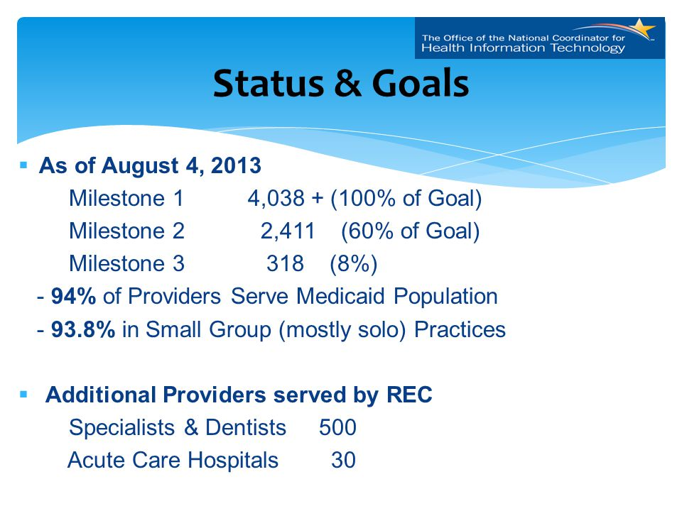 As of August 4, 2013 Milestone 1 4,038 + (100% of Goal) Milestone 2 2,411 (60% of Goal) Milestone 3 318 (8%) - 94% of Providers Serve Medicaid Population - 93.8% in Small Group (mostly solo) Practices  Additional Providers served by REC Specialists & Dentists 500 Acute Care Hospitals 30 Status & Goals