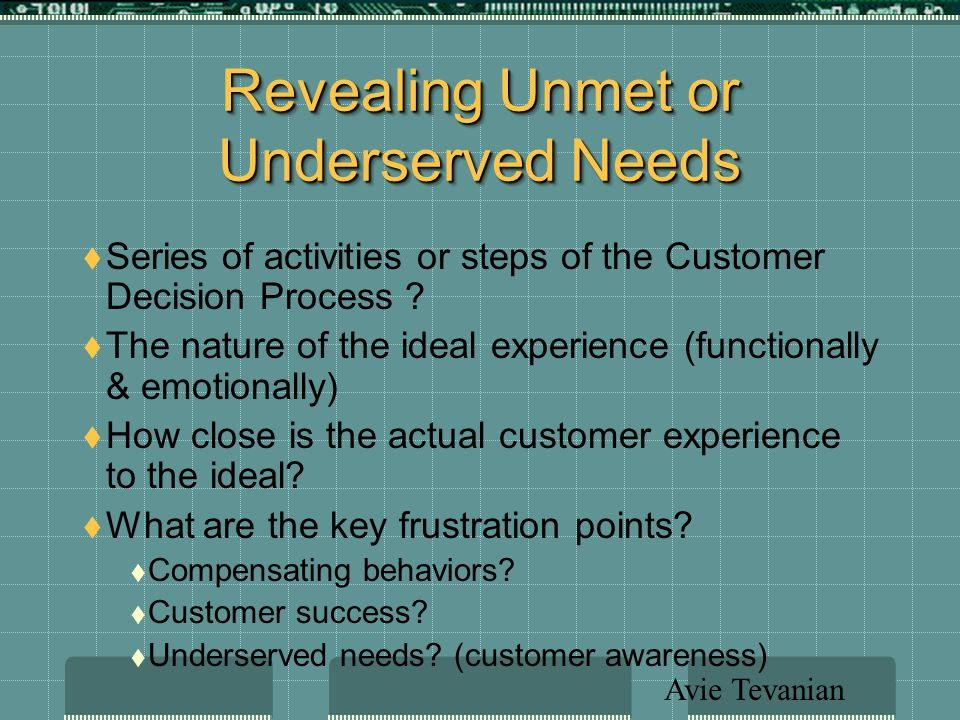 Revealing Unmet or Underserved Needs  Series of activities or steps of the Customer Decision Process .