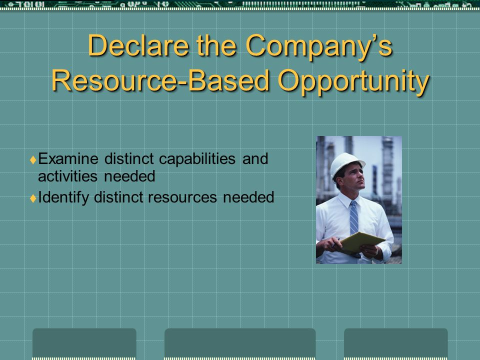 Declare the Company's Resource-Based Opportunity  Examine distinct capabilities and activities needed  Identify distinct resources needed