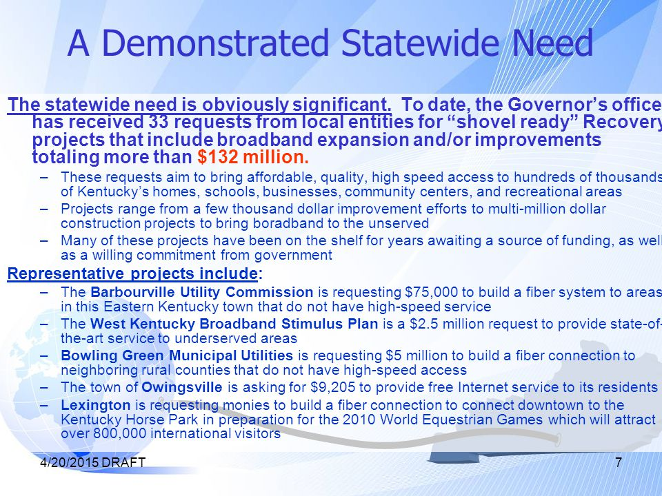 4/20/2015 DRAFT The E-Opportunity Blueprint The E-Opportunity Blueprint addresses the gaps in state broadband coverage through a four-stage strategy, using the federal stimulus as a start-up fund to establish an ongoing, self-sustaining program.