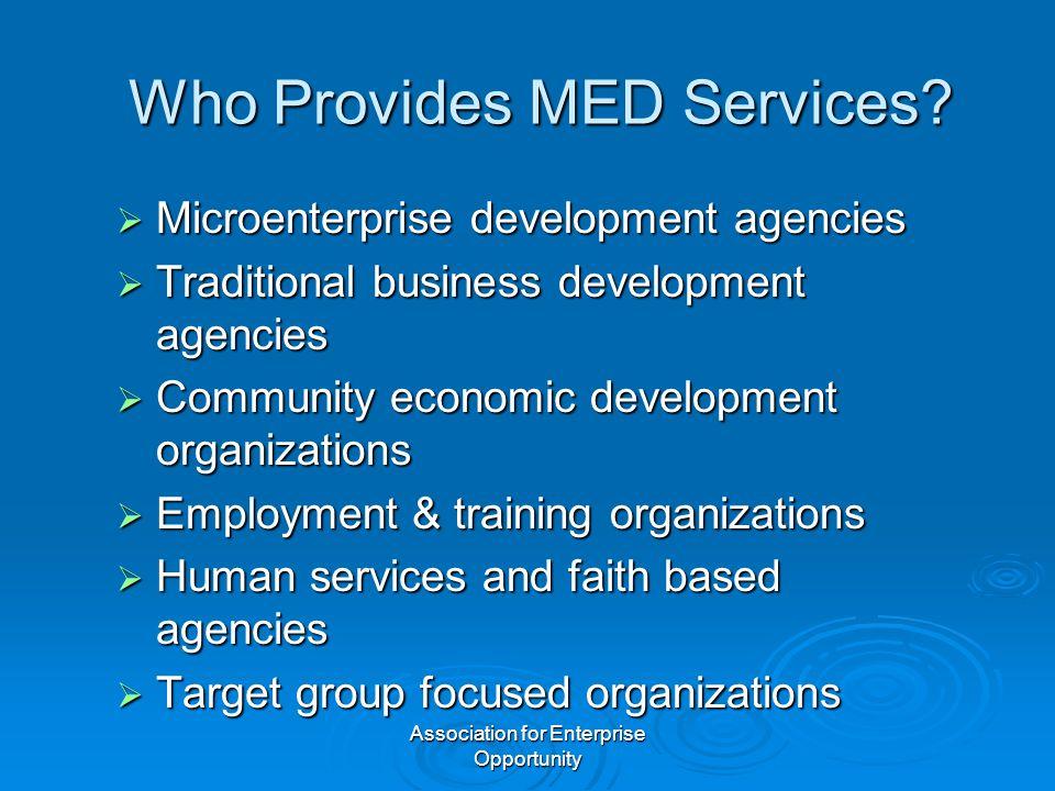Association for Enterprise Opportunity Who Provides MED Services?  Microenterprise development agencies  Traditional business development agencies 