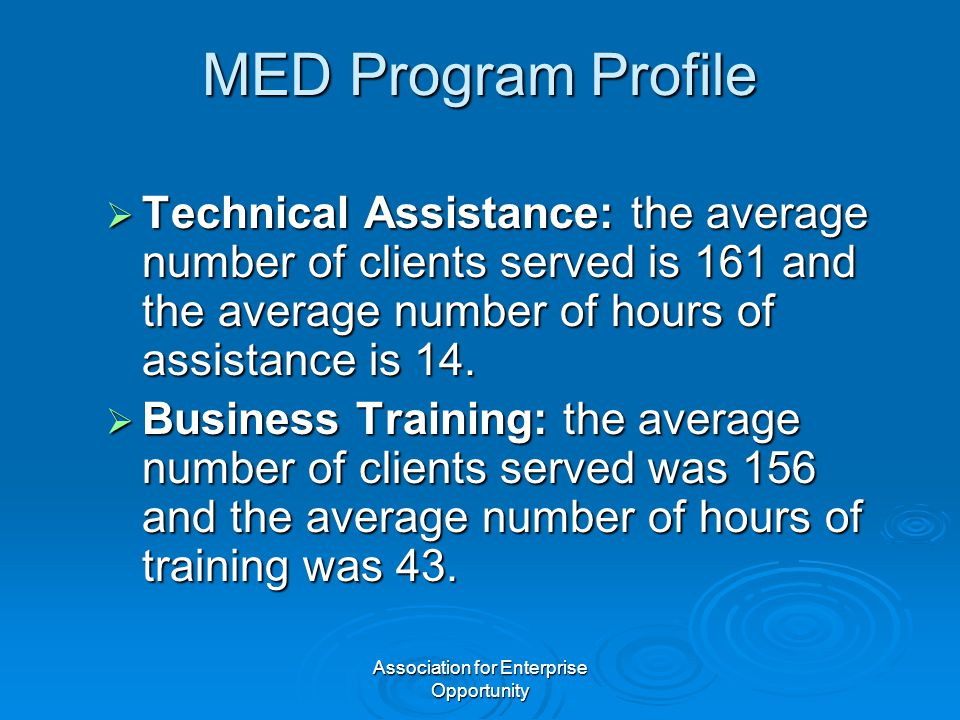 Association for Enterprise Opportunity MED Program Profile  Technical Assistance: the average number of clients served is 161 and the average number