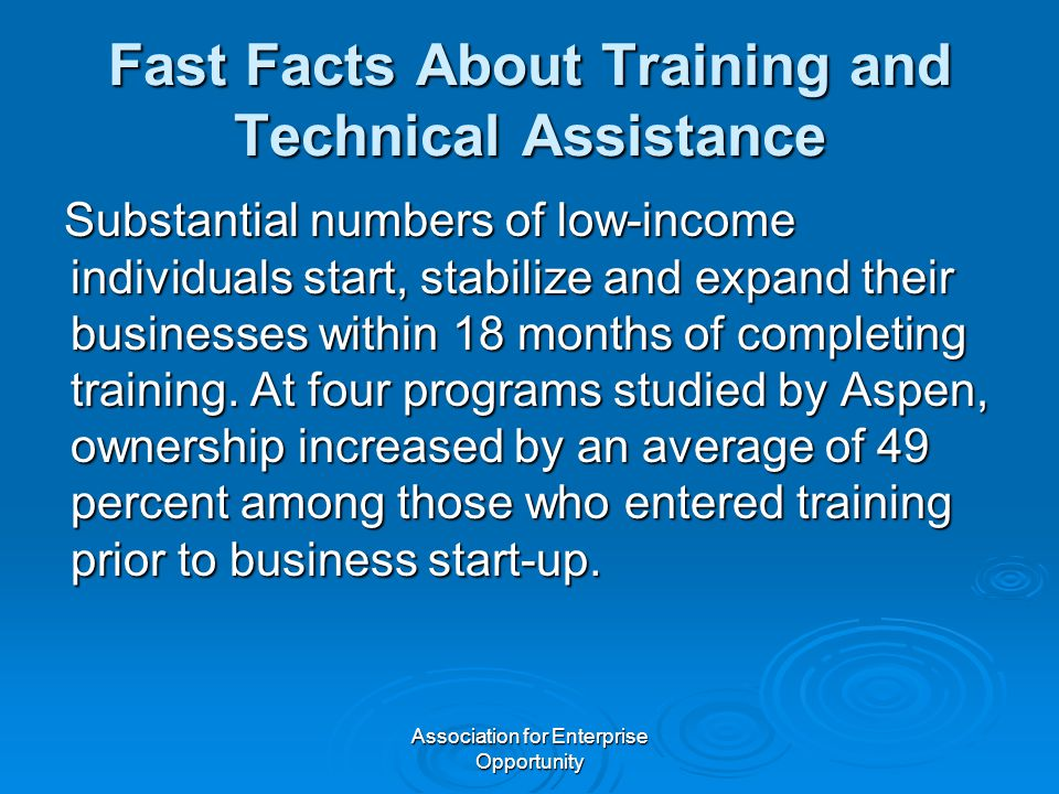 Association for Enterprise Opportunity Fast Facts About Training and Technical Assistance Substantial numbers of low-income individuals start, stabilize and expand their businesses within 18 months of completing training.