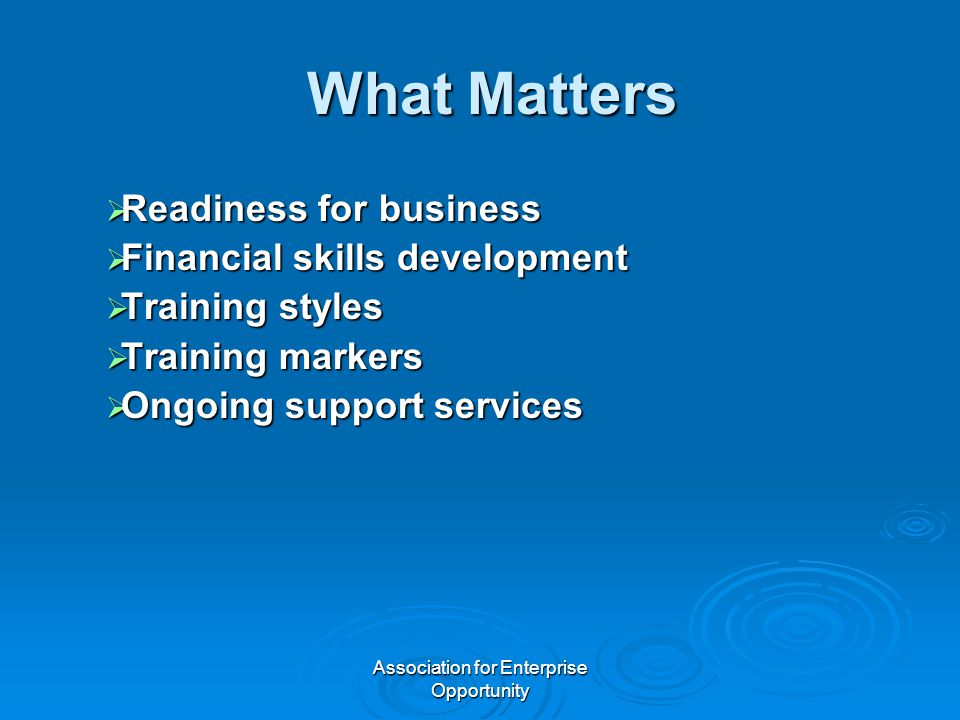 Association for Enterprise Opportunity What Matters  Readiness for business  Financial skills development  Training styles  Training markers  Ongoing support services
