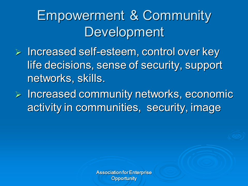 Association for Enterprise Opportunity Empowerment & Community Development  Increased self-esteem, control over key life decisions, sense of security, support networks, skills.