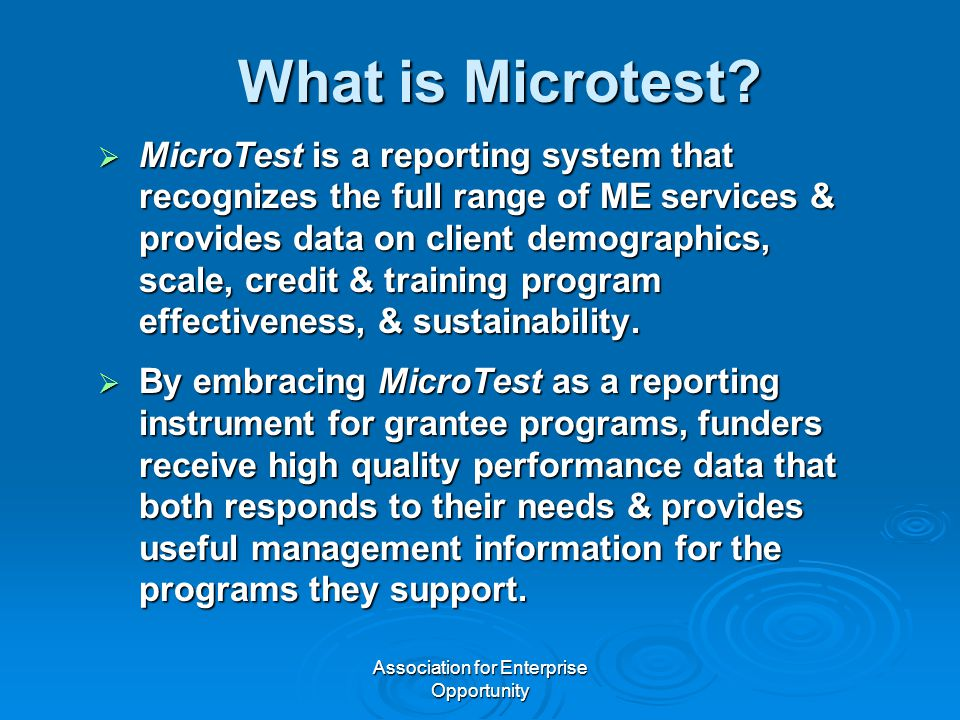 Association for Enterprise Opportunity What is Microtest?  MicroTest is a reporting system that recognizes the full range of ME services & provides d