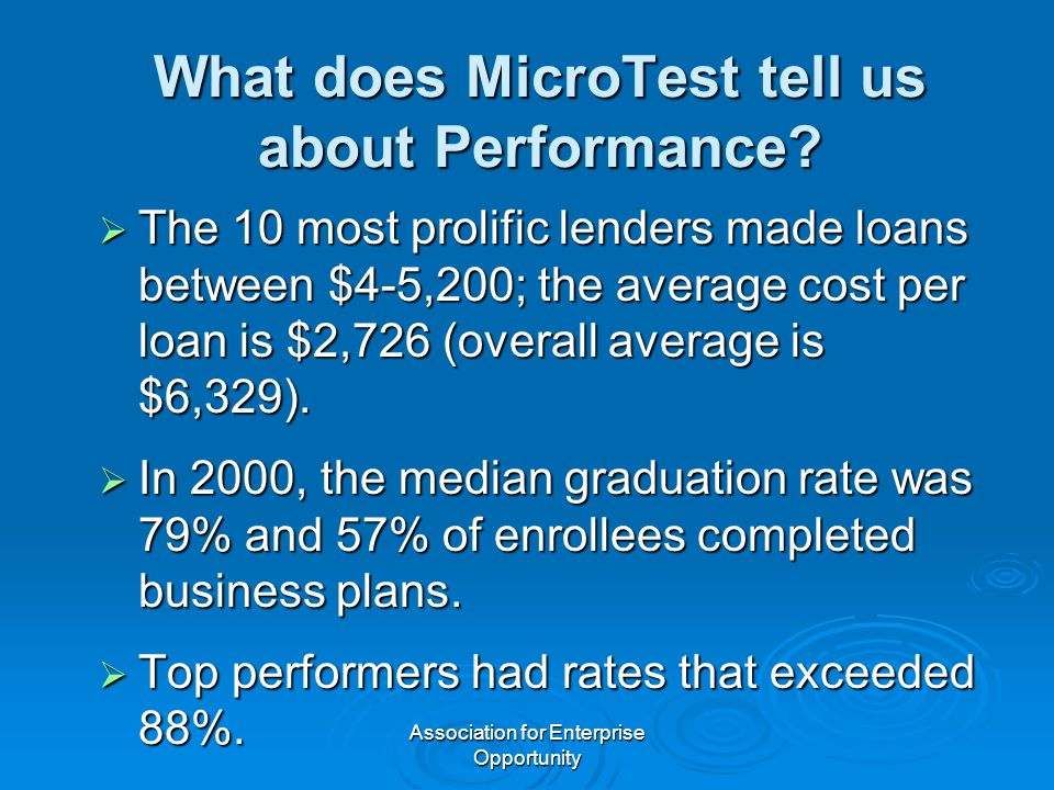 Association for Enterprise Opportunity What does MicroTest tell us about Performance.