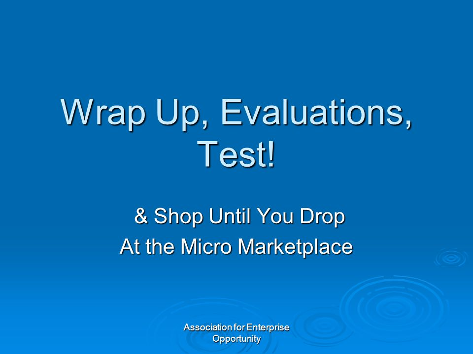 Association for Enterprise Opportunity Wrap Up, Evaluations, Test.