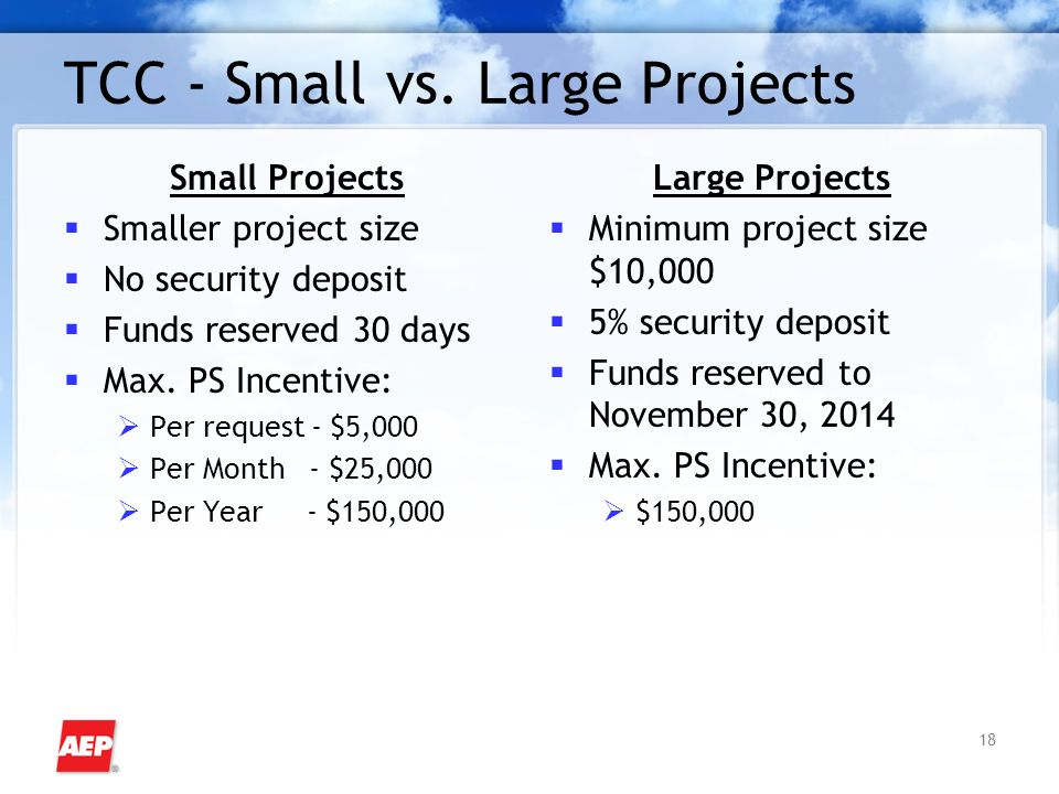 18 TCC - Small vs. Large Projects Small Projects  Smaller project size  No security deposit  Funds reserved 30 days  Max. PS Incentive:  Per requ