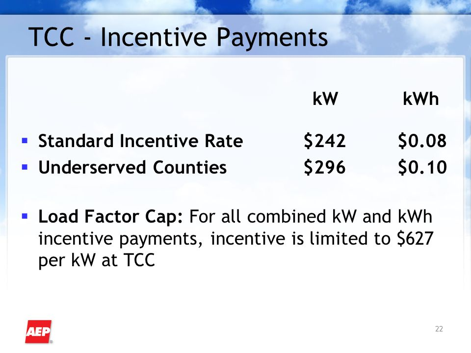 22 TCC - Incentive Payments kW kWh  Standard Incentive Rate$242$0.08  Underserved Counties$296$0.10  Load Factor Cap: For all combined kW and kWh i
