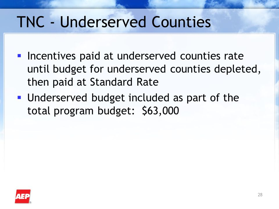 28 TNC - Underserved Counties  Incentives paid at underserved counties rate until budget for underserved counties depleted, then paid at Standard Rat