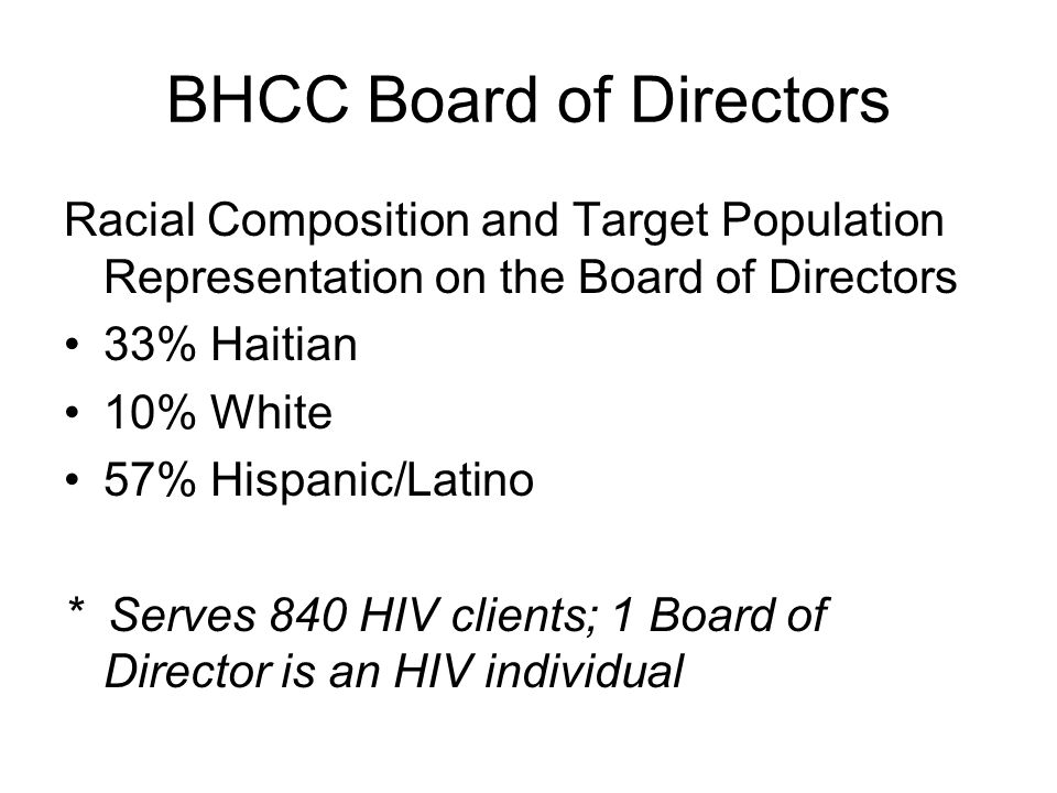 BHCC Board of Directors Racial Composition and Target Population Representation on the Board of Directors 33% Haitian 10% White 57% Hispanic/Latino * Serves 840 HIV clients; 1 Board of Director is an HIV individual