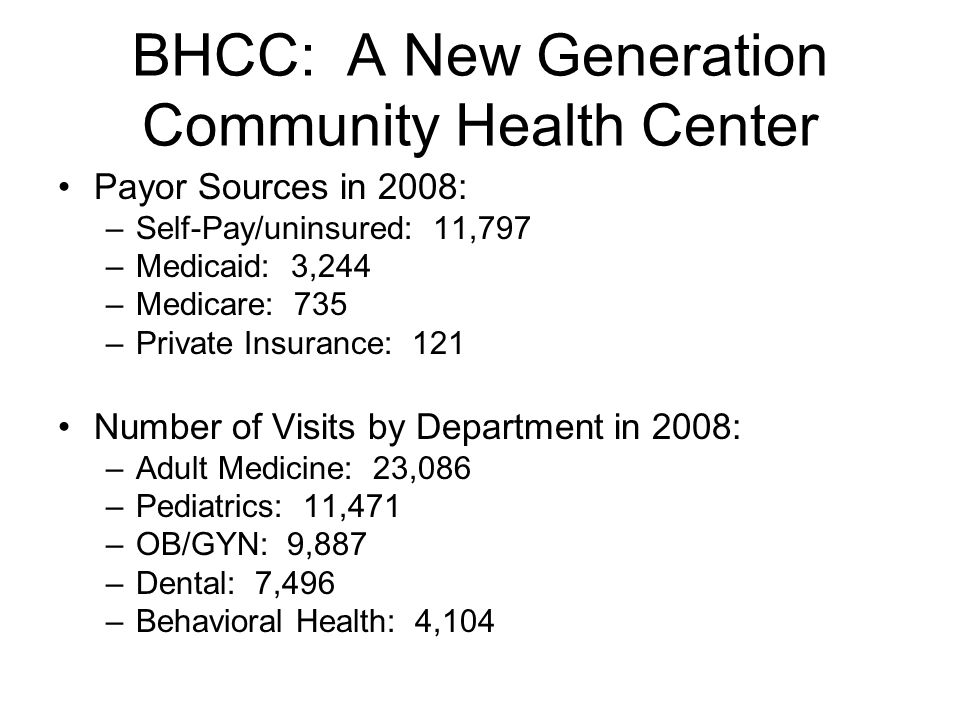 BHCC: A New Generation Community Health Center Payor Sources in 2008: –Self-Pay/uninsured: 11,797 –Medicaid: 3,244 –Medicare: 735 –Private Insurance: 121 Number of Visits by Department in 2008: –Adult Medicine: 23,086 –Pediatrics: 11,471 –OB/GYN: 9,887 –Dental: 7,496 –Behavioral Health: 4,104