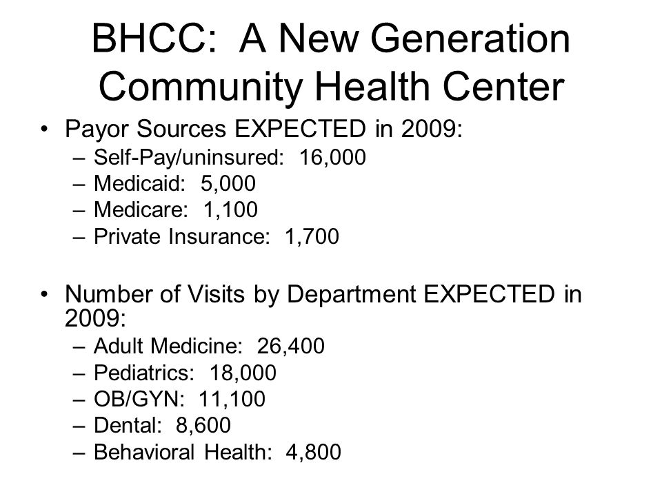 BHCC: A New Generation Community Health Center Payor Sources EXPECTED in 2009: –Self-Pay/uninsured: 16,000 –Medicaid: 5,000 –Medicare: 1,100 –Private Insurance: 1,700 Number of Visits by Department EXPECTED in 2009: –Adult Medicine: 26,400 –Pediatrics: 18,000 –OB/GYN: 11,100 –Dental: 8,600 –Behavioral Health: 4,800