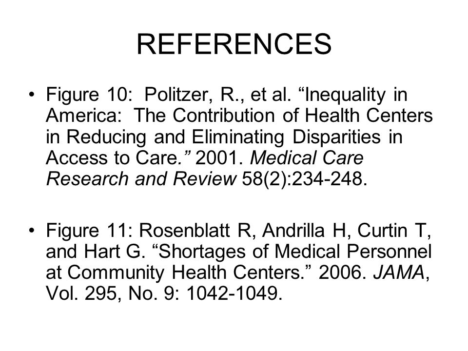REFERENCES Figure 10: Politzer, R., et al.
