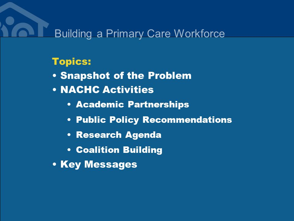 Building a Primary Care Workforce Topics: Snapshot of the Problem NACHC Activities Academic Partnerships Public Policy Recommendations Research Agenda Coalition Building Key Messages