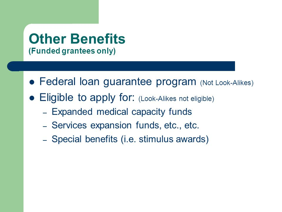 Other Benefits (Funded grantees only) Federal loan guarantee program (Not Look-Alikes) Eligible to apply for: (Look-Alikes not eligible) – Expanded medical capacity funds – Services expansion funds, etc., etc.