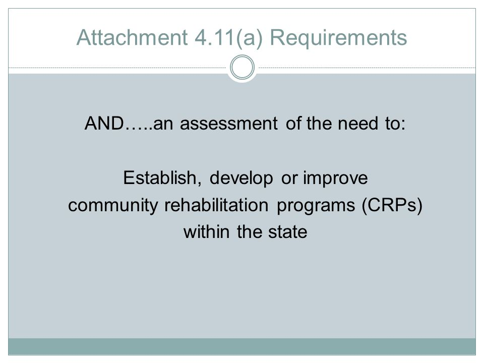 Attachment 4.11(a) Requirements AND…..an assessment of the need to: Establish, develop or improve community rehabilitation programs (CRPs) within the state