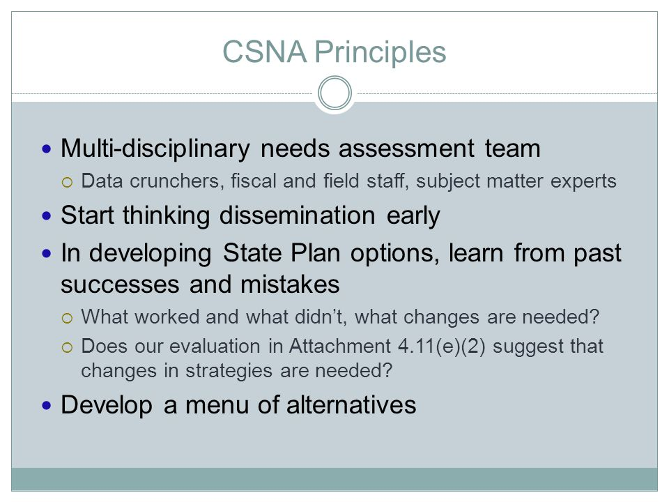 CSNA Principles Multi-disciplinary needs assessment team  Data crunchers, fiscal and field staff, subject matter experts Start thinking dissemination