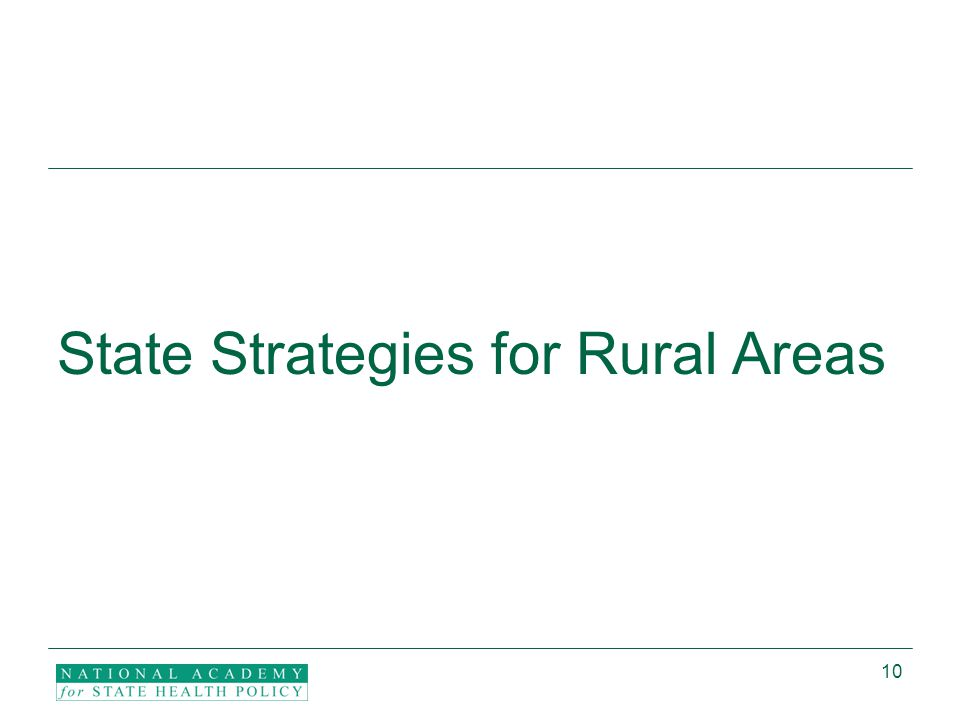 10 State Strategies for Rural Areas